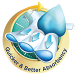 quicker & better absorbency